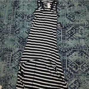 Express Hi Low Black & White Striped Dress